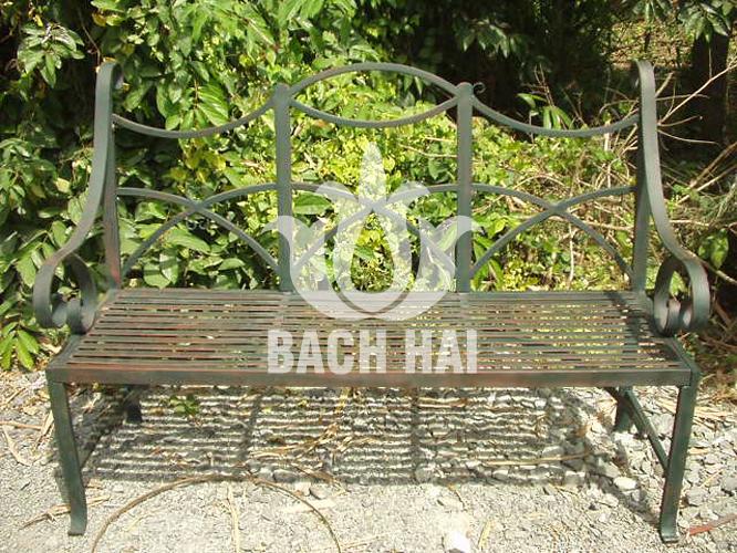 ghế dài sắt mỹ thuật trang trí sân vườn ws-10021